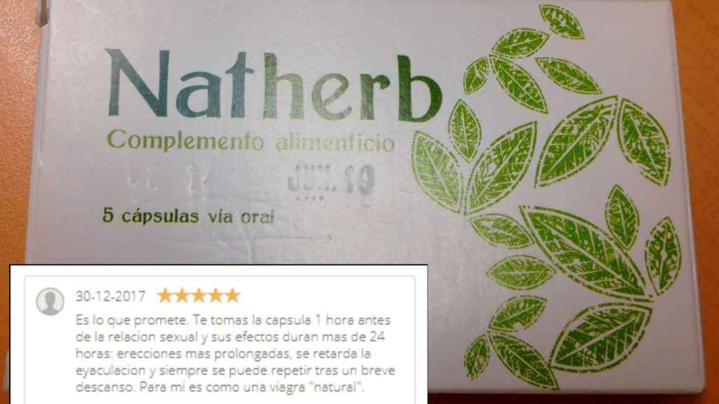 Un caja de Natherb intervenida, en una imagen distribuida por la AEMPS, junto a la valoración de un usuario.