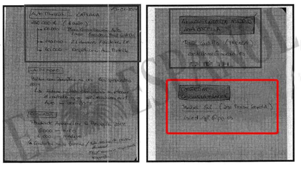 Documento manuscrito obrante en el sumario del caso Púnica.