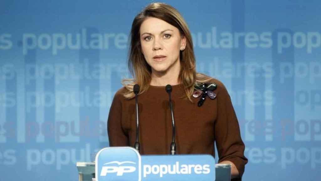 Maria Dolores de Cospedal durante su rueda de prensa para explicar la indemnización de Luis Bárcenas.