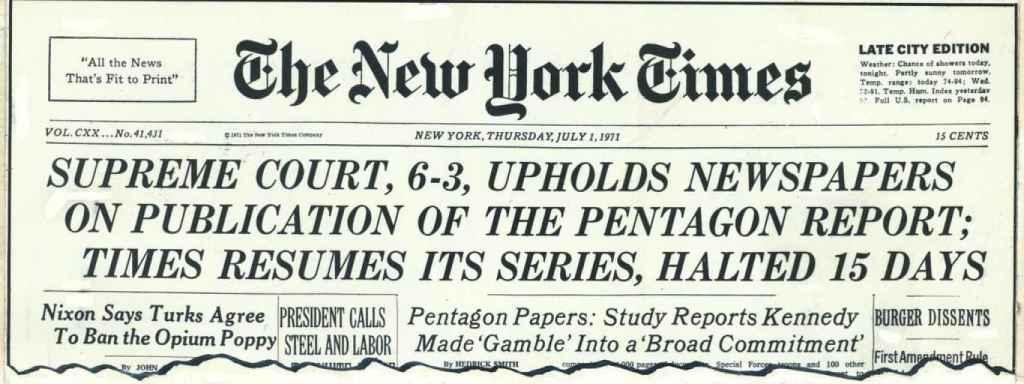 Portada del The New York Times del 1 de julio de 1971.