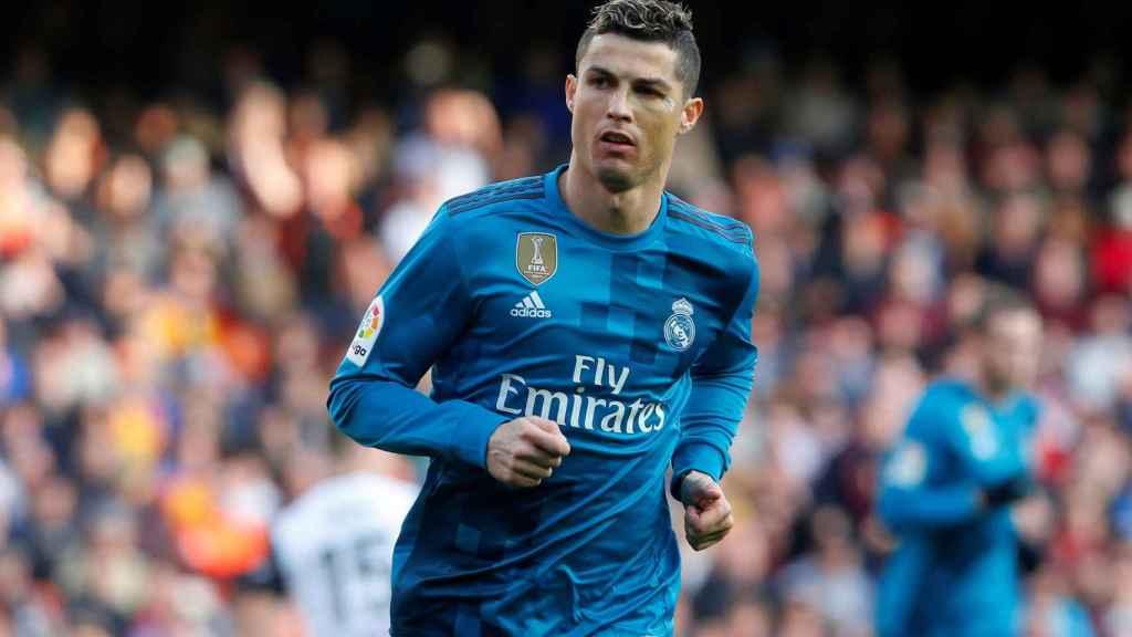 Cristiano Ronaldo, tras marcar uno de los dos goles en Mestalla.