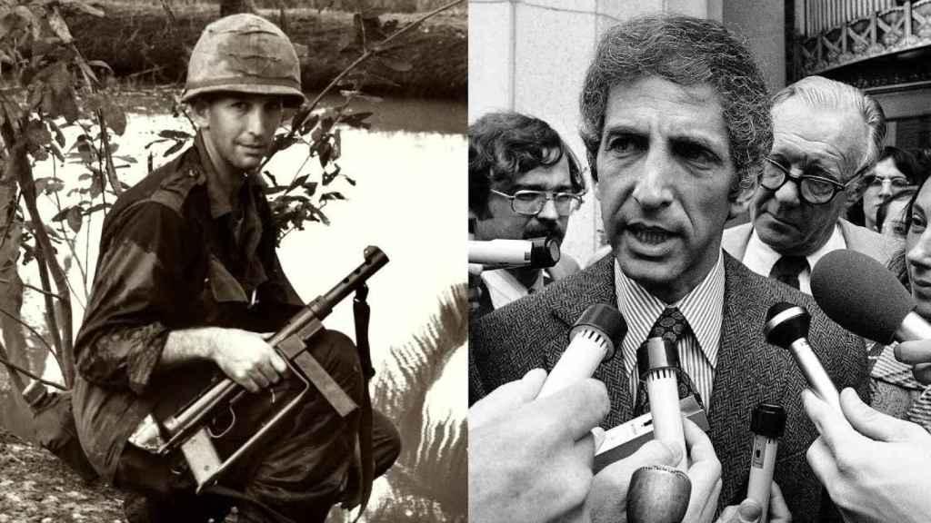 Daniel Ellsberg durante su etapa militar en Vietnam y  cuando saltó el escándalo.