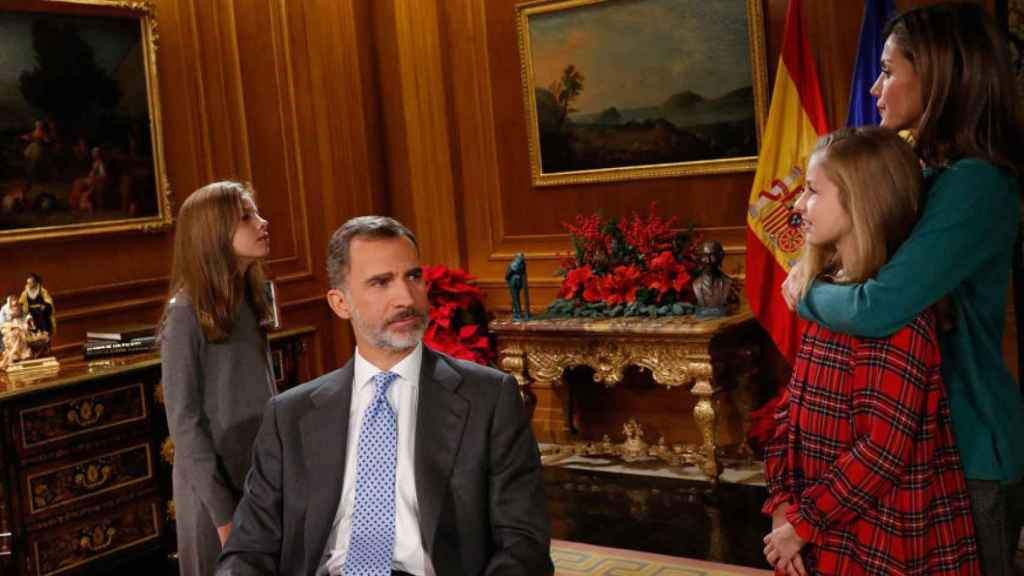 Sofía, Leonor y la reina Letizia junto a Felipe VI.