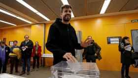 Gerard Piqué, en el momento en el que votó en las pasadas elecciones catalanas.
