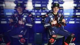 Maverick Viñales, en el box de Yamaha en el circuito malasio de Sepang.
