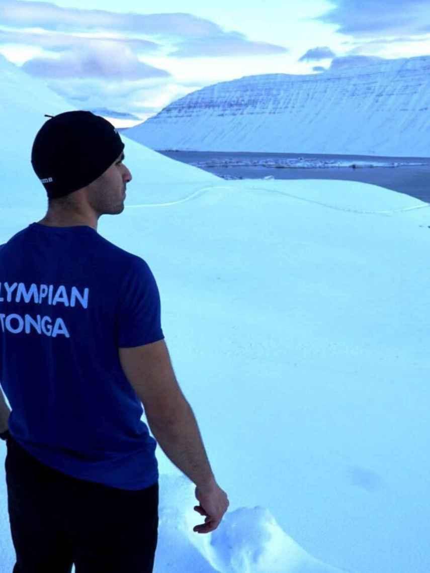 Pita Taufatofua en el día de su clasificación a los JJOO de invierno.