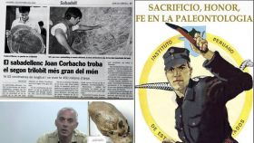 Un recorte de prensa sobre Joan Corbacho, una entrevista en un canal esotérico a Klaus Hönninger, y un cartel de propaganda del grupo de Carlos A. Vildoso.