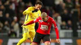 Neymar, contra el Stade Rennais. Foto staderennais.com