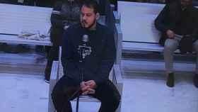 Pablo Hasel durante su declaración en la Audiencia Nacional.
