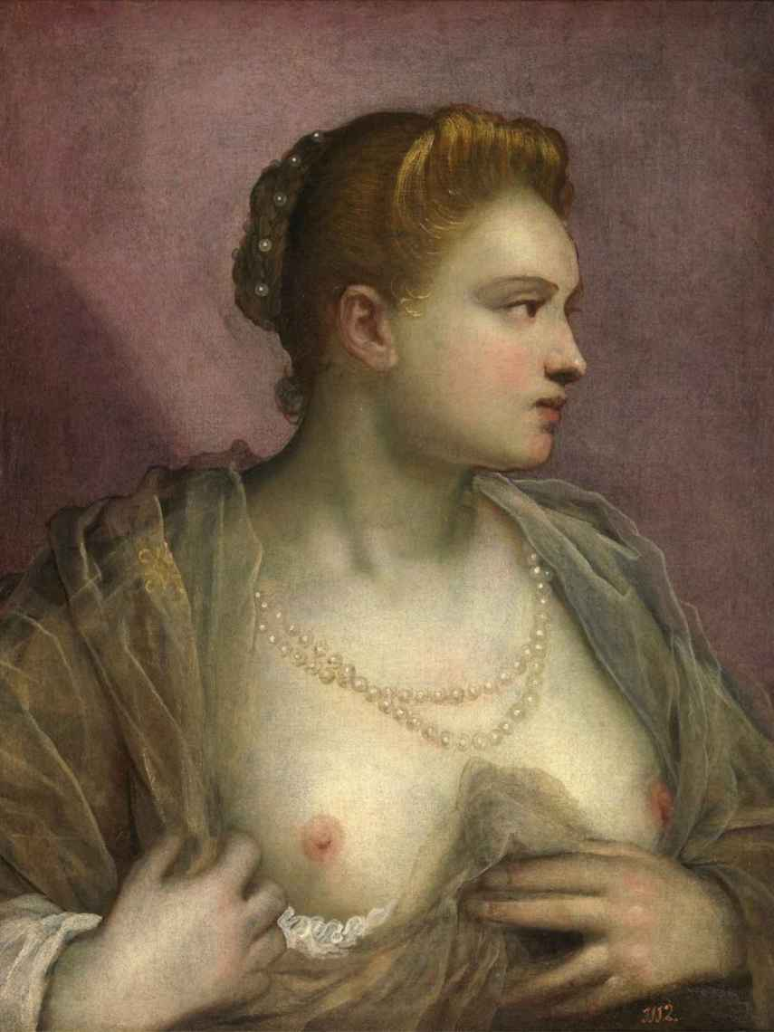 Domenico Tintoretto (el hijo de Jacopo) pintó esta cortesana.