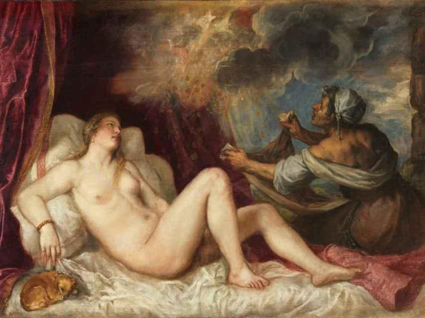 Dánae recibiendo la lluvia de oro, de Tiziano.