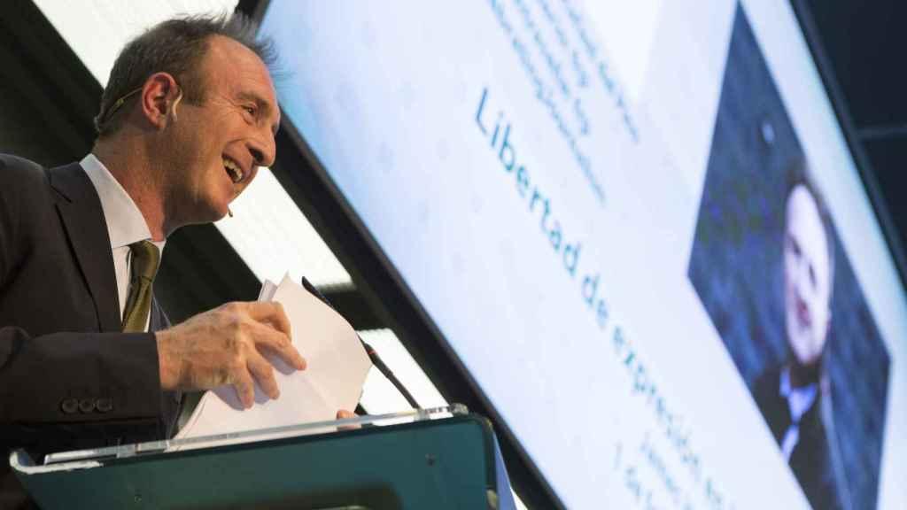 James Harding durante su conferencia en la Fundación Rafael del Pino el jueves en Madrid.