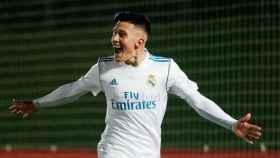 Cristo celebra su gol anotado ante el Deportivo Fabril