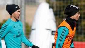 Cristiano y Sergio Ramos, durante un entrenamiento
