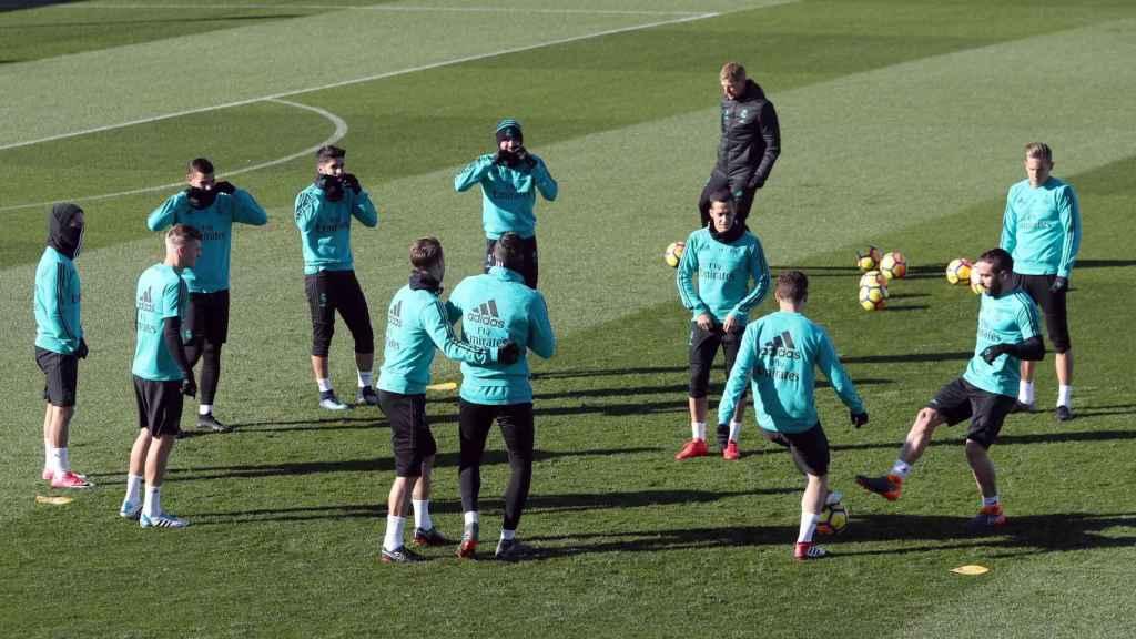 Entrenamiento del Real Madrid en Valdebebas antes del partido ante el Levante.