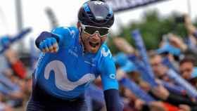 Valverde celebra la victoria.