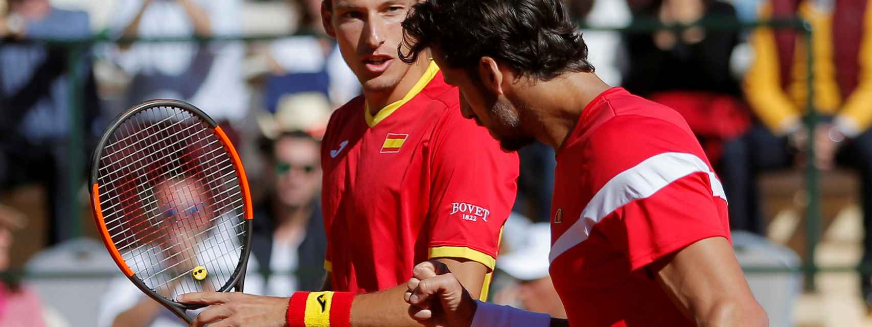 Pablo Carreño y Feliciano López durante la Copa Davis.