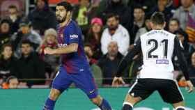 Luis Suárez, ante el Valencia en las semifinales de la Copa del Rey. Foto: Twitter (@FCBarcelona_es)