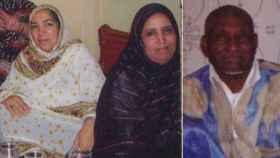 Moutaoikil y dos de sus mujeres, que ahora se disputan su pensión de viudedad.