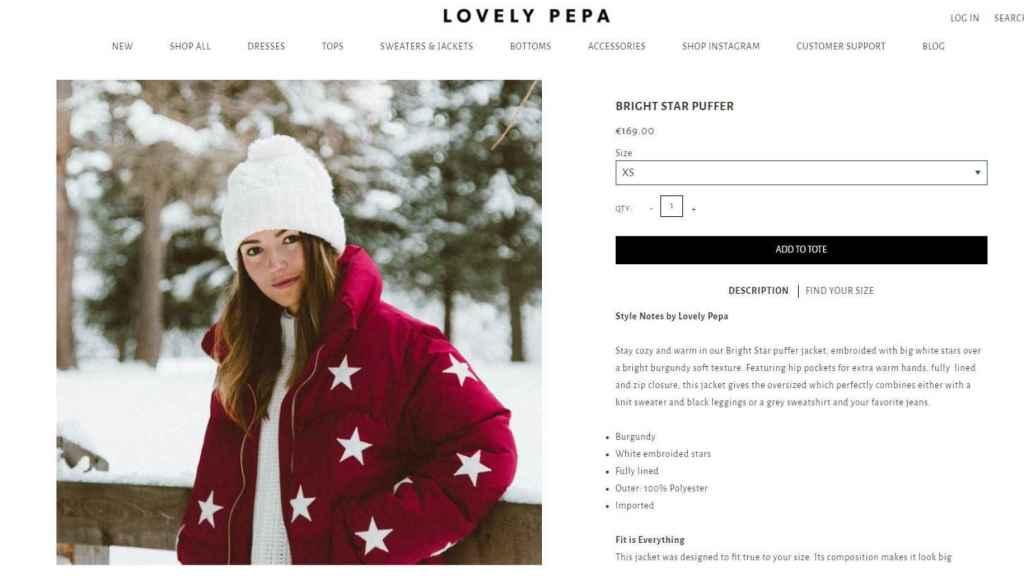 Captura de la compra online  del abrigo.
