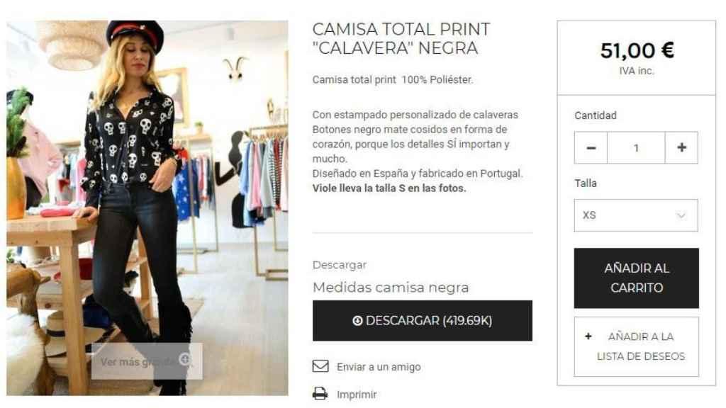 Captura de la compra online  de la camisa.