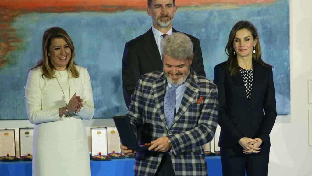 Lorenzo Caprile y la reina Letizia en Málaga.