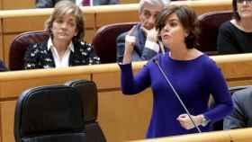 La vicepresidenta, Soraya Sáenz de Santamaría, este martes en el Senado.