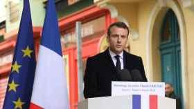 Macron durante un acto este martes en la capital corsa