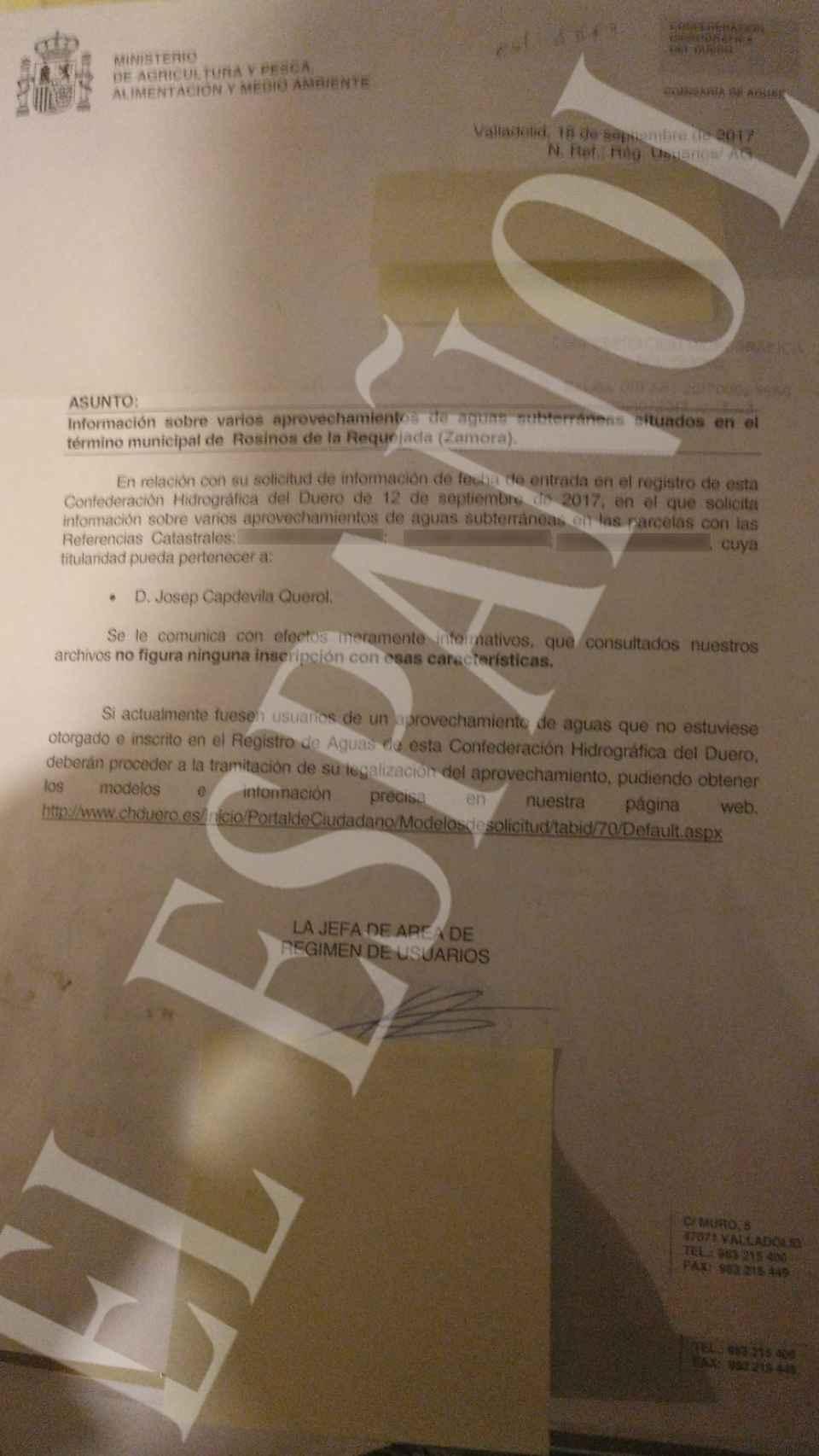 El documento que acredita que estos pozos no figuran en el registro.