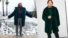 Sara Sálamo con el abrigo verde.