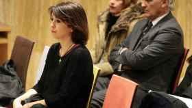 Juana Rivas este miércoles en la sala del juicio del Juzgado de Primera Instancia 3 de Granada.