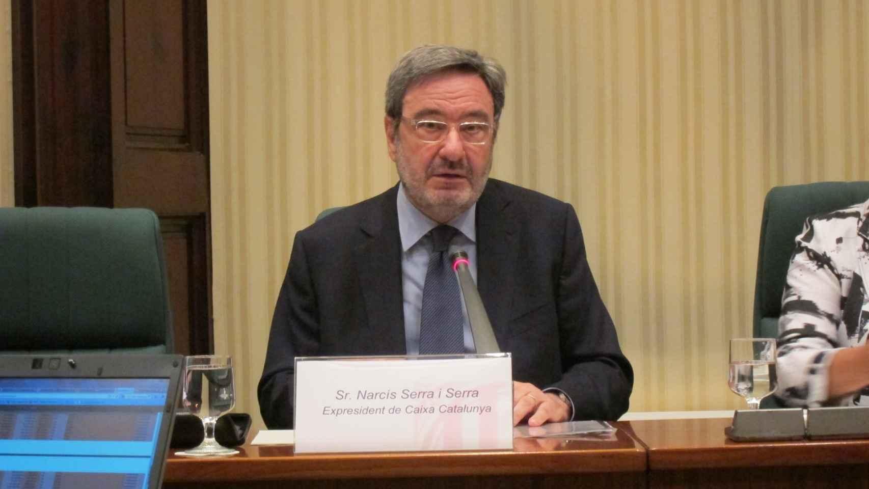 Narcís Serra durante su comparecencia en el Congreso en la comisión que investigó la crisis financiera.