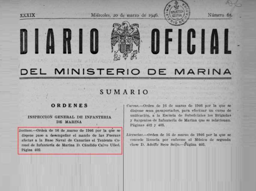 Extracto del Diario Oficial del Ministerio de Marina.