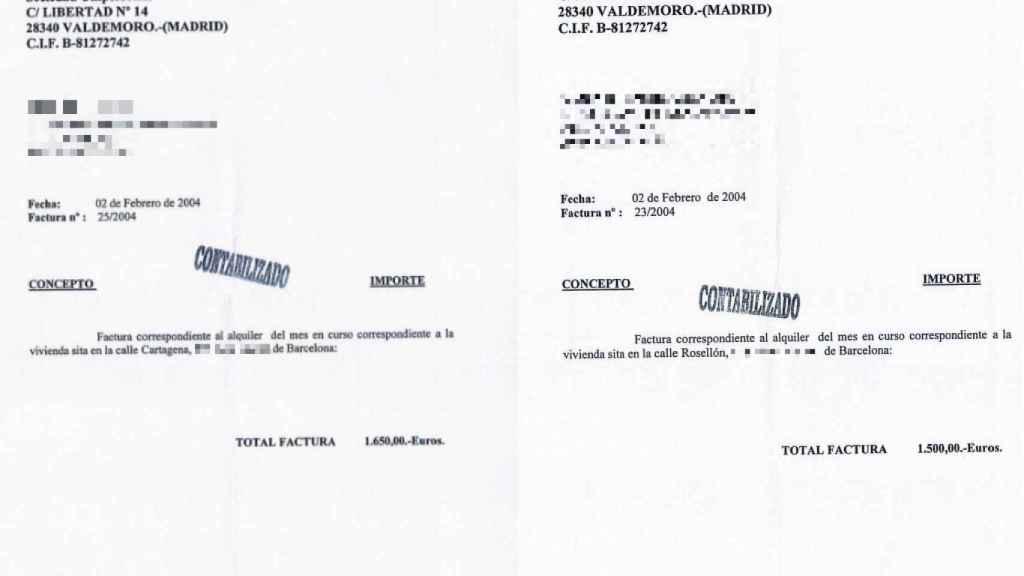 Facturas de alquiler de las dos facturas alquiladas en Barcelona.