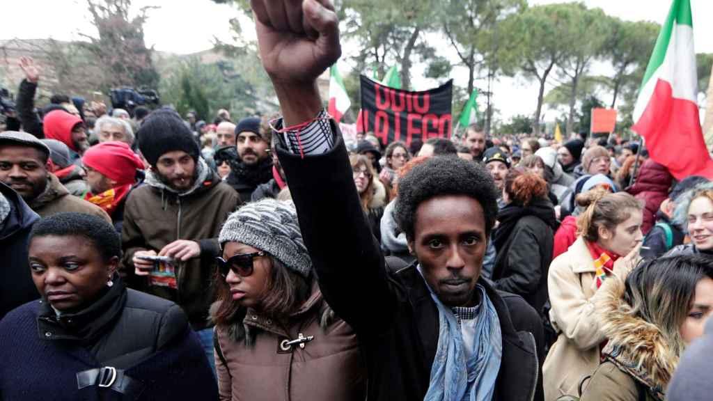 Manifestación contra el racismo en Macerata