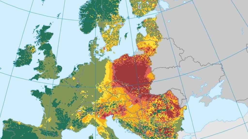 Mapa mostrando la calidad del aire en Europa en 2015.