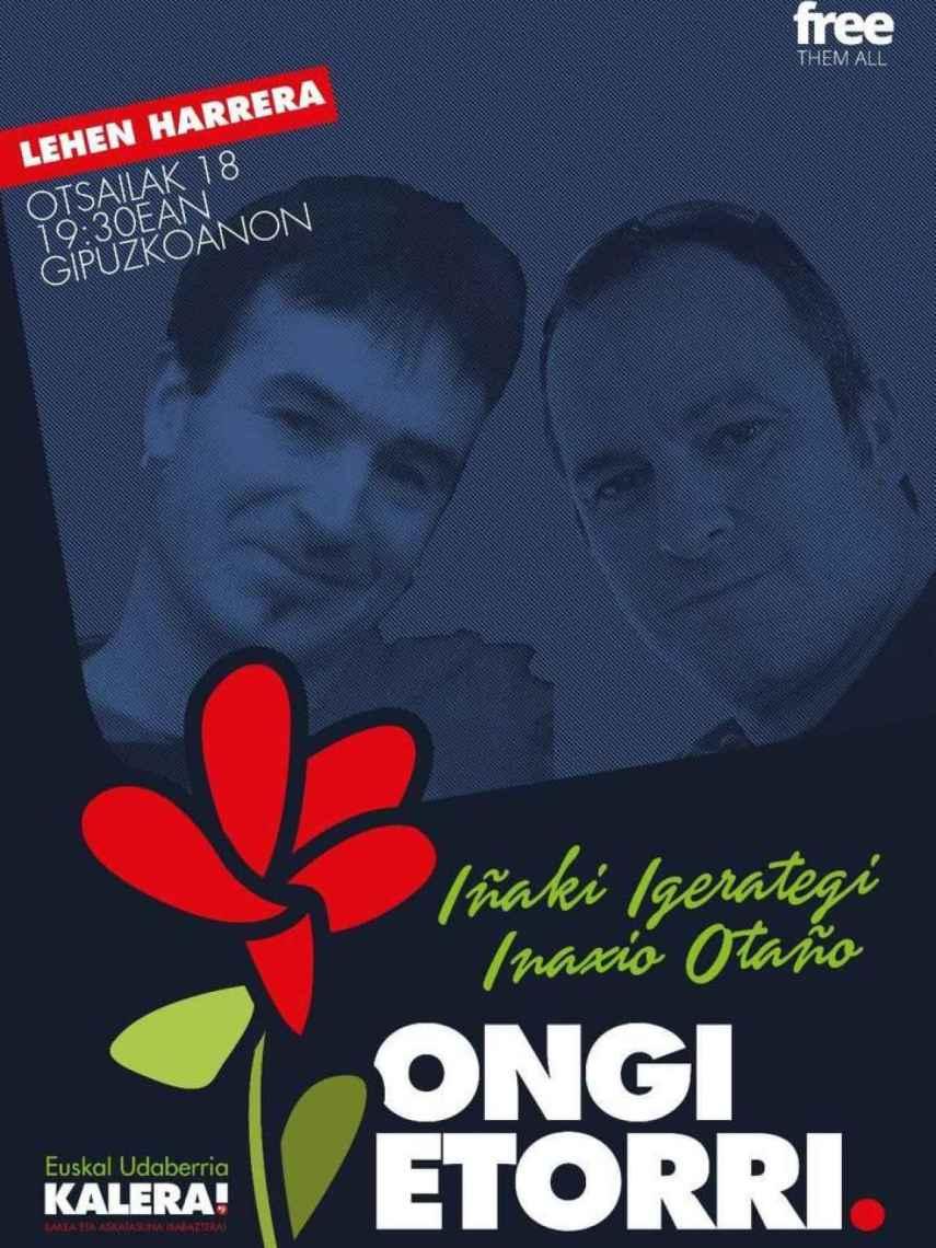 Cartel promocional del acto de bienvenida a Igerategi y Otaño.
