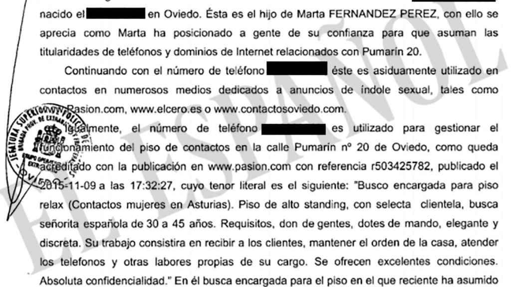Fragmento del sumario del caso en el que se implica el teléfono del joven hijo de la Ama Lara.