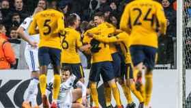 Los jugadores del Atlético celebran uno de sus cuatro goles al Copenhague.