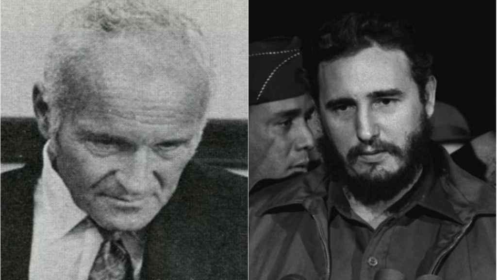 A la izquierda, Sidney Gottlieb; a la derecha, Fidel Castro.