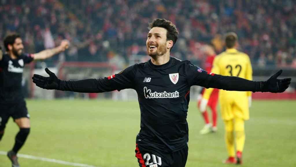 Aduriz celebra uno de sus dos goles ante el Spartak.