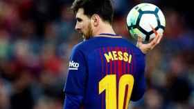 Messi, con el balón, en el partido ante el Getafe.