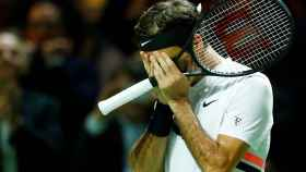 Federer, tras ganar a Haase en Rotterdam.