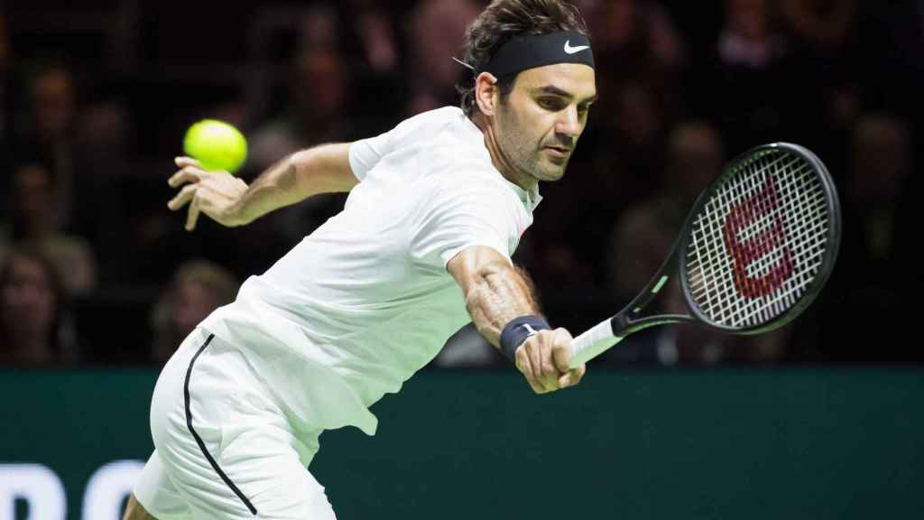 Federer, en su partido de segunda ronda de Rotterdam.
