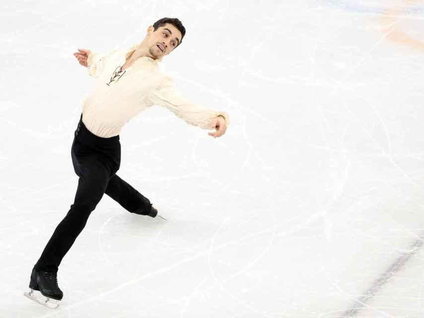 Javier Fernández, durante su programa largo en Pyeongchang.