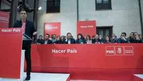 Pedro Sánchez, con su Ejecutiva detrás este sábado en Aranjuez durante el Comité Federal.