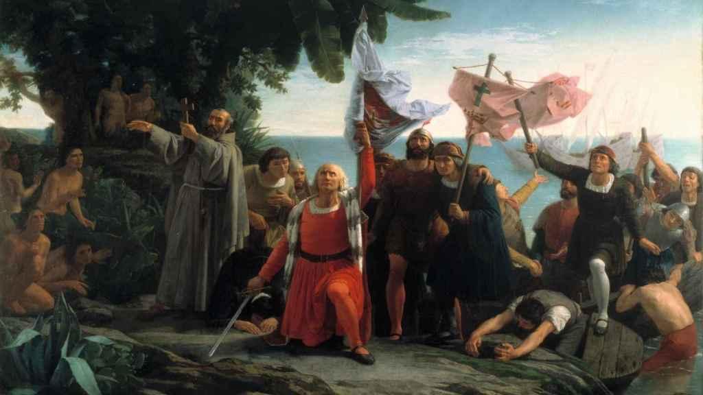 Desembarco de Colón por Dióscoro Puebla (1862)