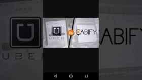 Imagen de archivo con los logos de Uber y Cabify.