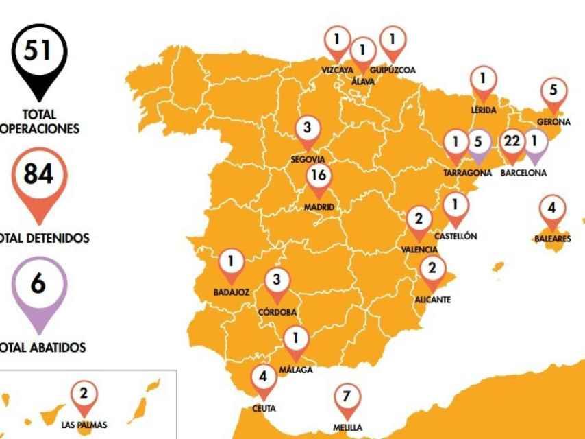Operaciones policiales con detenciones de yihadistas en España en 2017.