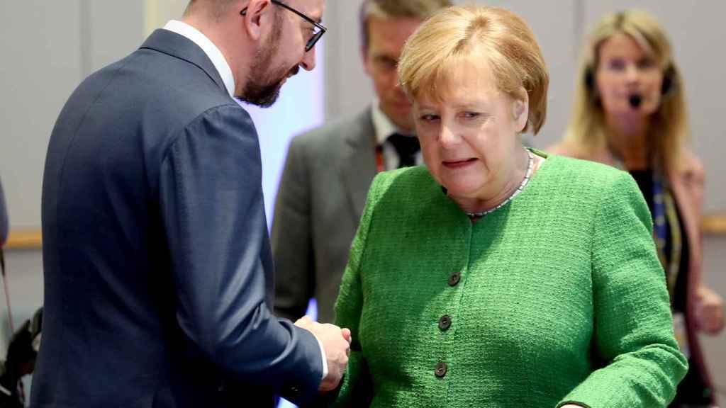 La canciller Merkel y el primer ministro belga, Charles Michel
